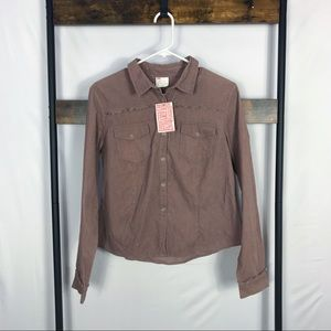 URBAN OUTFITTERS Mauve Corduroy Snap Top